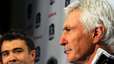 Geelong coach Chris Scott and Collingwood coach Mick Malthouse at Treasury Place.