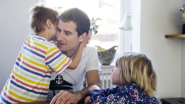 Australian Luke Grindal in Malmo with his children, Finn, 6, and Flora, 4.