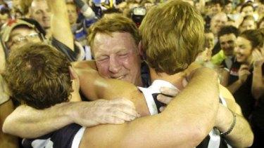 Coach Gerard FitzGerald celebrates North Ballarat's historic VFL grand final win in 2008.