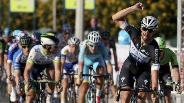 Dominant: Omega Pharma-Quick Step's Tom Boonen of Belgium celebrates his stage win.