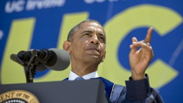 President Barack Obama addresses the graduating class of the University of California, Irvine.