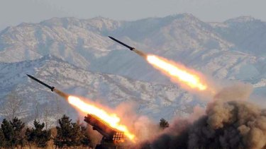 A North Korean missile launch drill from 2009.