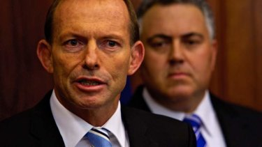 Men in blue: Tony Abbott and Joe Hockey.