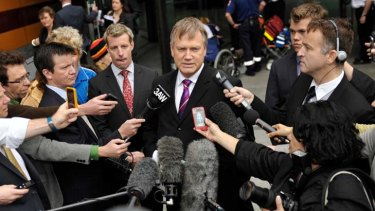 Lost case ... Andrew Bolt outside the Federal Court.