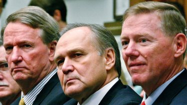General Motors chairman and CEO Richard Wagoner (left), his Chrysler counterpart Robert Nardelli and Ford CEO and president Alan Mulally prepare for their grilling.