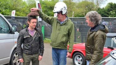 Richard Hammond, Jeremy Clarkson and James May mess around at Jap Fest, Castle Combe Circuit Top Gear.