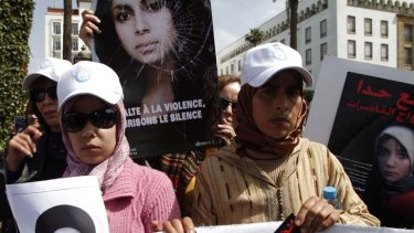 Protest … activists in Rabat call for changes to Morocco's rape laws following the suicide of Amina Filali.