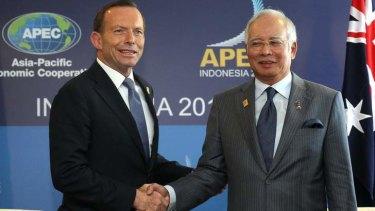 Prime Minister Tony Abbott meets with Malaysian Prime Minister Najib Razak in Bali.