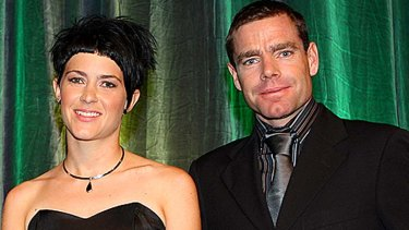 Carly HIbberd with Australian men's cycling star Cadel Evans.