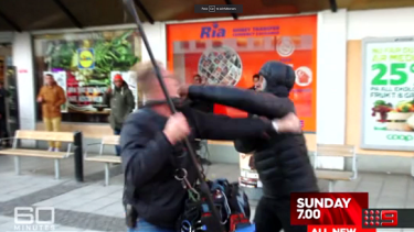 A young man assaults a 60 minute cameraman while the crew .