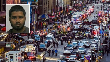 New York subway attack suspect Akayed Ullah (inset) has been charged after the explosion sent peak hour commuters running for their lives.