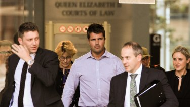 Gable Tostee, left, leaves the Supreme Court in Brisbane with defence barrister Saul Holt, right.