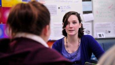 Hands on: Erindale College teacher and Teach for Australia program member Bridget Martin. Photo Jay Cronan
