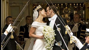 Crown Princess Victoria of Sweden, and her husband Prince Daniel of Sweden, after their wedding ceremony on June 19.