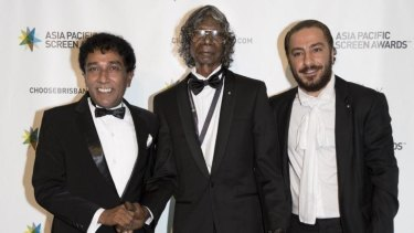 Mahendra Perera, David Gulpilil and Navid Mohammadzadeh at the 2014 Asia Pacific Screen Awards in Brisbane.