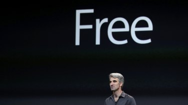 Business model: Apple's Craig Federighi announces the new operating system OS X Mavericks will be a free upgrade.