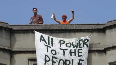 The squatters protest on the roof of the derelict St Michael's College in Sydney.