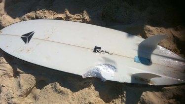 Shark attack ... the bite mark in Glen ''Lenny'' Folkard's surfboard.