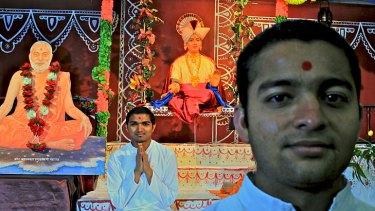 Growing faith ... Arpit Patel, 25, left, and Keval Vala, 23, at the BAPS Shree Swaminarayan Mandir temple in Parramatta where they practise the Hindu faith.
