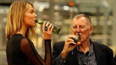 Model Jennifer Hawkins with John Singleton at Bluetongue Brewery launch in 2010.