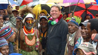 Kirk Roberts at the signing of a forestry agreement at Mt Hagen.