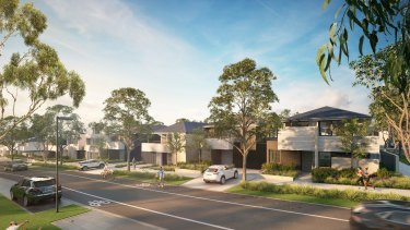 An artist's impression of homes in the YarraBend development installed with Tesla batteries in Alphington.