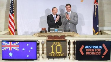 Australian Prime Minister Tony Abbott rang the bell to open the New York Stock Exchange.