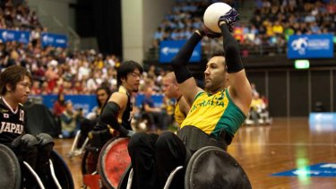 Man of Steelers ... Cameron Carr, co-captain of the Australian wheelchair rugby team, in a game against Japan earlier this month.