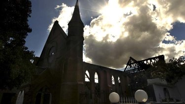 Ghost of itself: The hall of the Holy Trinity Anglican Church, Dulwich Hill, after the fire.