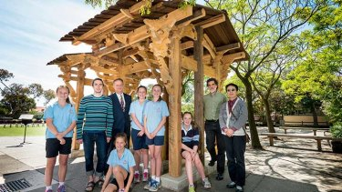 Students from Malvern Primary School with second-year Masters of Architecture student William Cassell; Dean of Architecture, Building and Planning Professor Tom Kvan; Studio Co-ordinator Hamish Hill; and subject co-ordinator Professor Qinghua Guo. Photo: Richard Timbury.