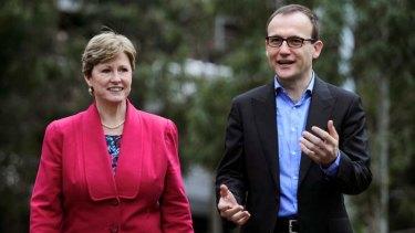 Australian Greens Leader Senator Christine Milne and Deputy Greens Leader Adam Bandt.