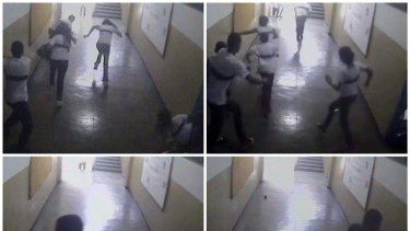 A combination picture of images taken from a security camera video distributed by the Rio police shows students running from the classroom where gunman Wellington Menezes de Oliveira, 24, opened fire.