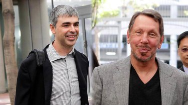 Larry Page, chief executive officer at Google, left, and Larry Ellison, chief executive officer at Oracle, arrive at court in San Jose, California..