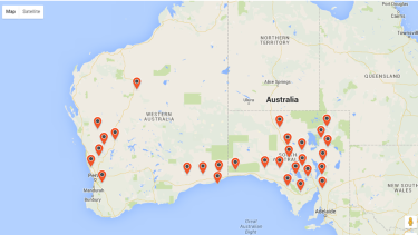 Locations where Curtin University has cameras tracking the skies and the trajectory of meteorites.