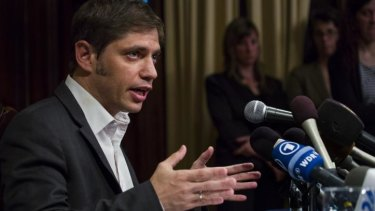 Axel Kicillof, Argentina's economy minister, addresses the media in Manhattan on Wednesday. He has described hedge funds that hold Argentine debt as 'vultures'.