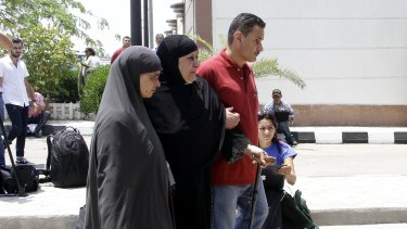 Relatives of passengers on an EgyptAir flight  at Cairo airport.