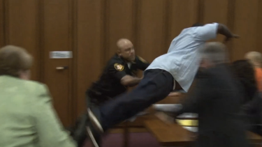 Courtroom footage shows Van Terry diving towards his daughter's killer, Michael Madison.