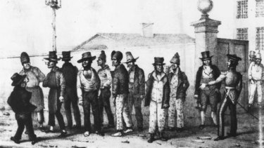 First Australian settlers: convicts sent to Australia, as depicted by Augustus Earle.