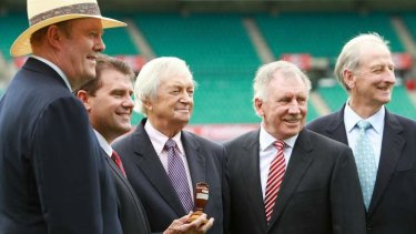Watching from the stands? The Nine commentary team at the 2010-11 Ashes launch (from left): the late Tony Greig, Mark Taylor, Richie Benaud, Ian Chappell and Bill Lawry.