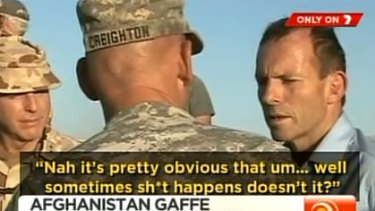 A Channel Seven screengrab of Tony Abbott speaking to soldiers in Afghanistan.