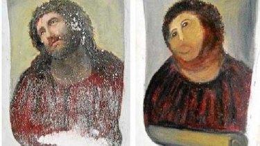 Fame calling ... Cecilia Gimenez's original restoration of the Ecce Homo in her local church.