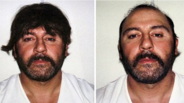 Big wig: Tony Mokbel after his 2007 arrest at an Athens coffee shop, and before his extradition to Australia.