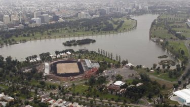 Albert Park Lake in Melbourne, the site of the Australian Grand Prix.