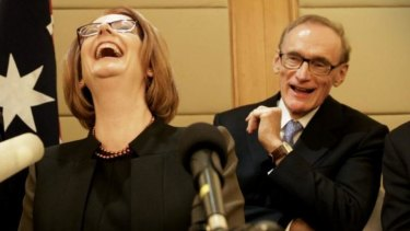 Former prime minister Julia Gillard with former foreign minister Bob Carr in April 2013.
