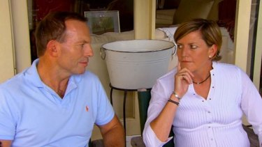 Change: Tony Abbott with his sister, Christine Forster.