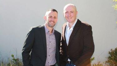 West Australian politician Stephen Dawson (right) and partner Dennis Liddelow.