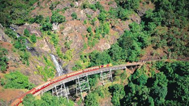 Derailed ... the Kuranda train in far north Queensland which came off the track with 224 passengers on board.