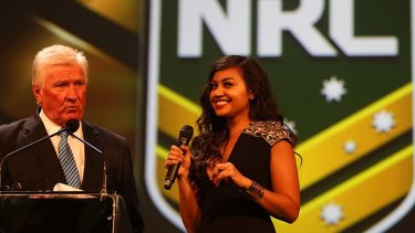 Trying ... Jessica Mauboy at the season launch this week.