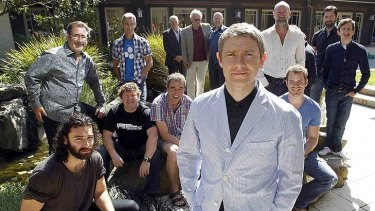 British actor Martin Freeman (front) poses with cast members of Peter Jackson's two-part film The Hobbit, where an incident on set left two workers suffering minor burns.