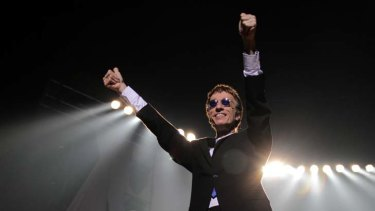 """BRISBANE. NEWS. SUN-HERALD.Photograph taken by Michelle Smith on Friday 29th October, 2010.Robin Gibb performs at the Brisbane Entertainment Centre as part of his """"An Evening of Bee Gees Greatest Hits"""" tour."""